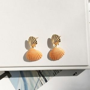 Clam Shell Drop Earring 14K Gold Plated Orange